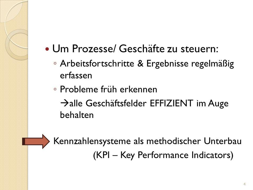 Um Prozesse/ Geschäfte zu steuern:
