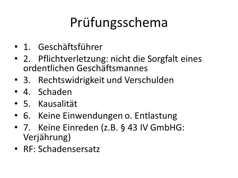 Prüfungsschema 1. Geschäftsführer