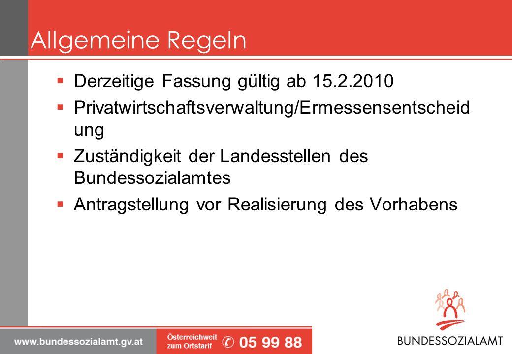 Allgemeine Regeln Derzeitige Fassung gültig ab 15.2.2010