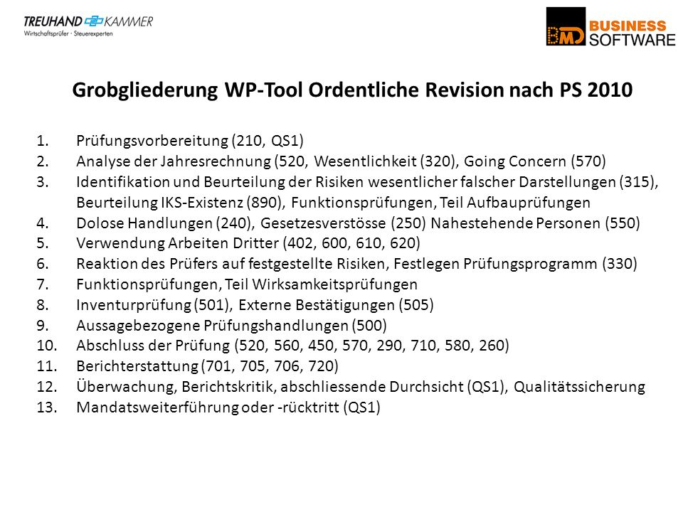 Grobgliederung WP-Tool Ordentliche Revision nach PS 2010