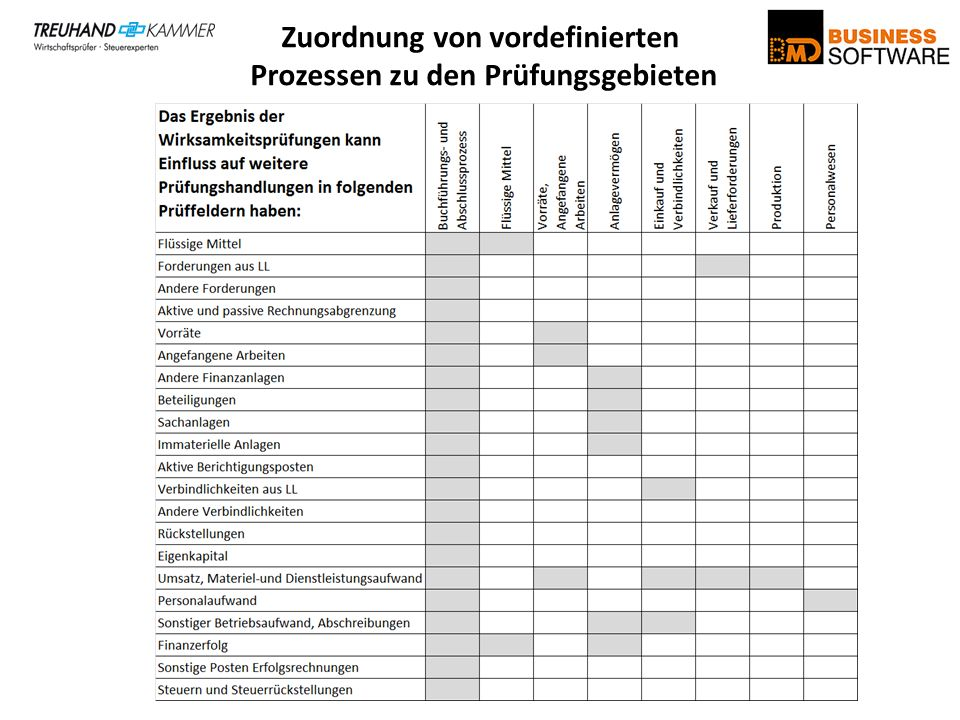 Zuordnung von vordefinierten Prozessen zu den Prüfungsgebieten