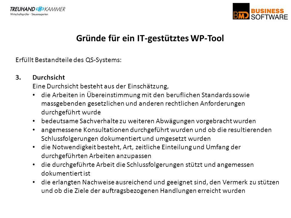 Gründe für ein IT-gestütztes WP-Tool