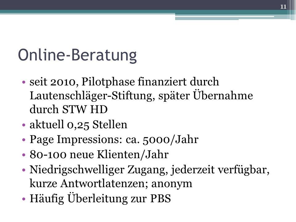 Online-Beratung seit 2010, Pilotphase finanziert durch Lautenschläger-Stiftung, später Übernahme durch STW HD.