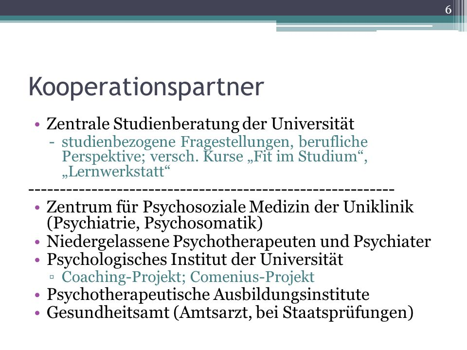 Kooperationspartner Zentrale Studienberatung der Universität