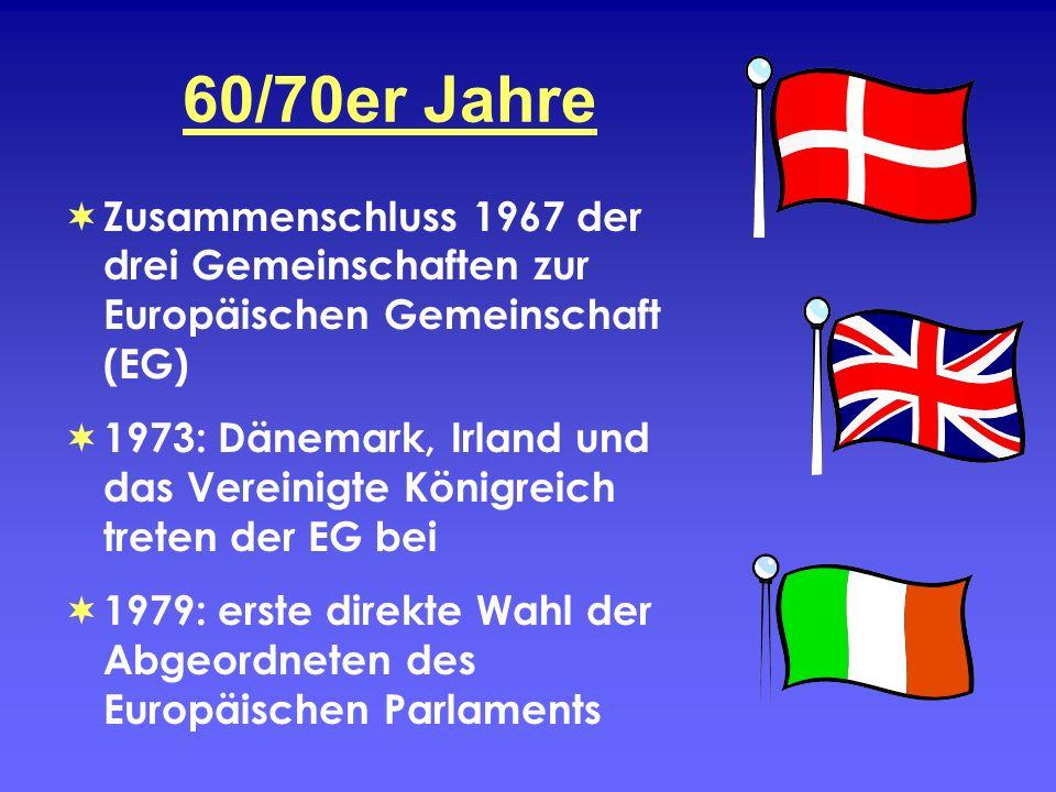 60/70er Jahre Zusammenschluss 1967 der drei Gemeinschaften zur Europäischen Gemeinschaft (EG)