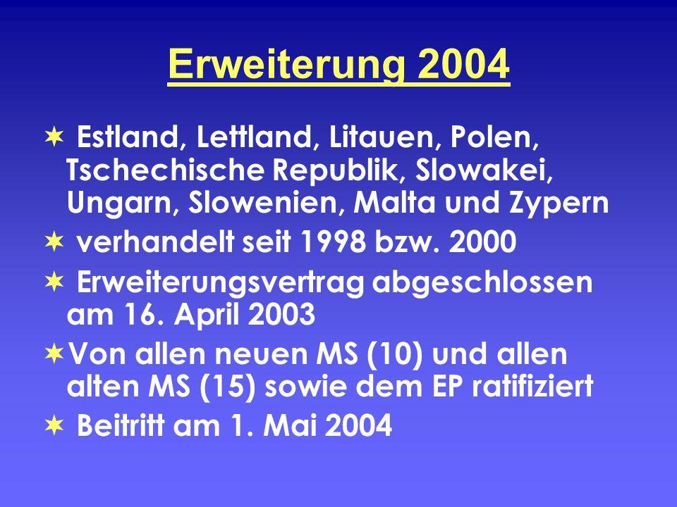 Erweiterung 2004 Estland, Lettland, Litauen, Polen, Tschechische Republik, Slowakei, Ungarn, Slowenien, Malta und Zypern.