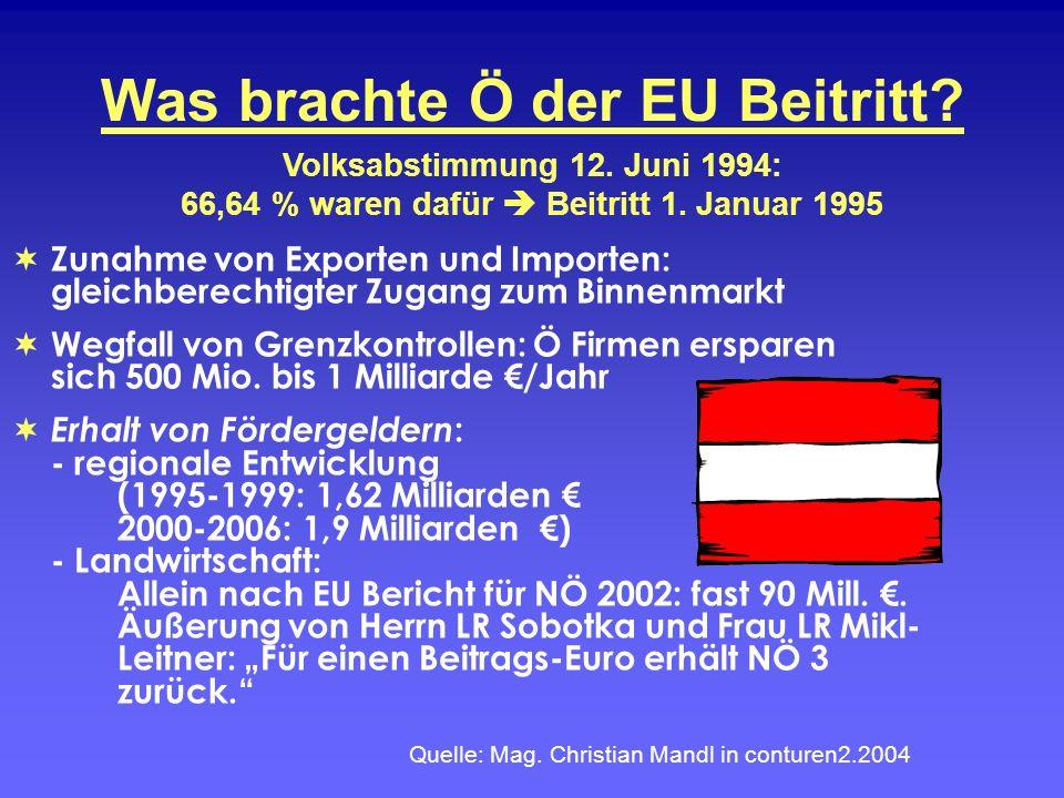 Was brachte Ö der EU Beitritt