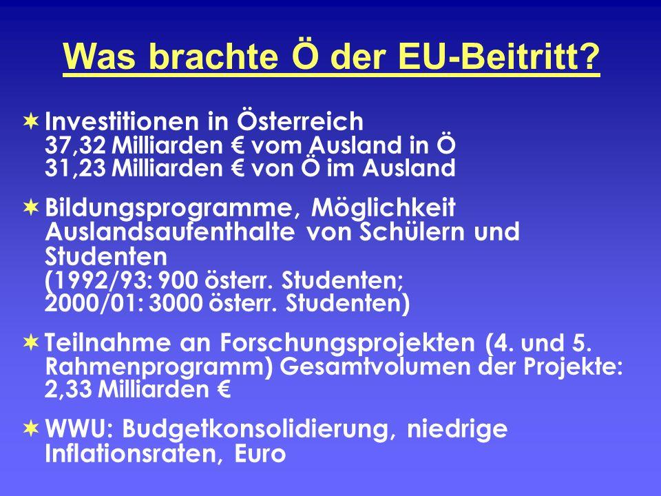 Was brachte Ö der EU-Beitritt