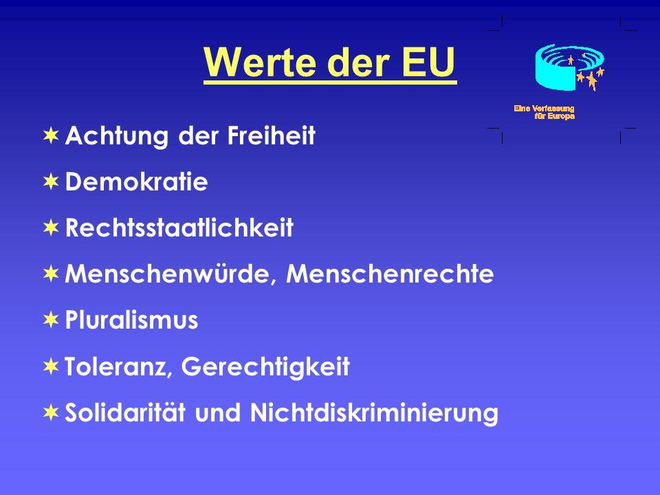 Werte der EU Achtung der Freiheit Demokratie Rechtsstaatlichkeit