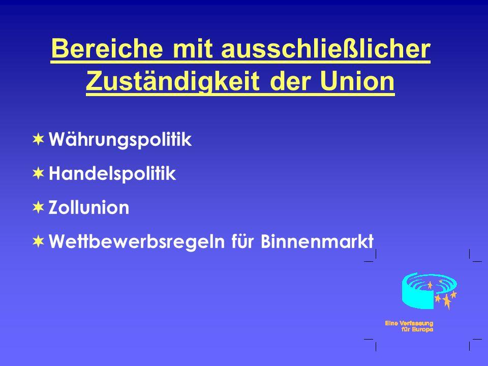 Bereiche mit ausschließlicher Zuständigkeit der Union