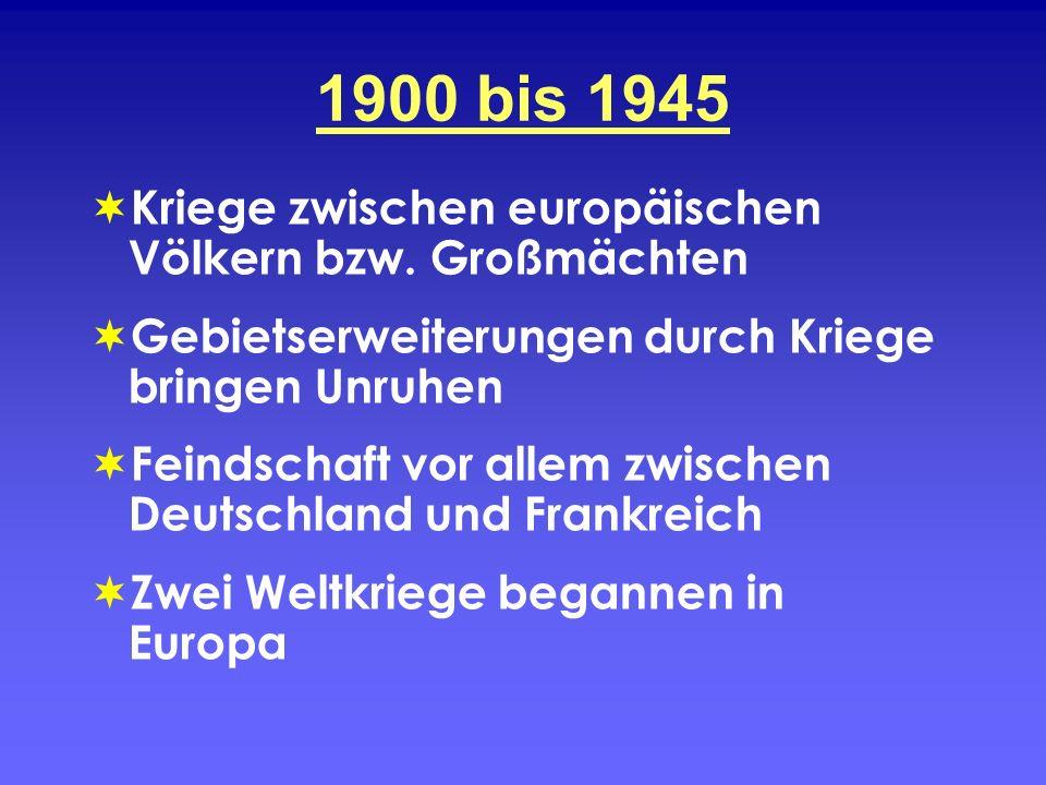 1900 bis 1945 Kriege zwischen europäischen Völkern bzw. Großmächten