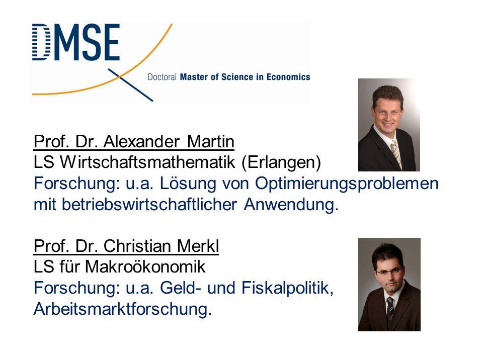 Prof. Dr. Alexander Martin LS Wirtschaftsmathematik (Erlangen) Forschung: u.a. Lösung von Optimierungsproblemen mit betriebswirtschaftlicher Anwendung.