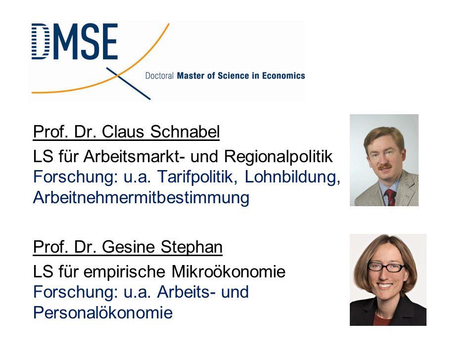 Prof. Dr. Claus Schnabel LS für Arbeitsmarkt- und Regionalpolitik Forschung: u.a. Tarifpolitik, Lohnbildung, Arbeitnehmermitbestimmung.