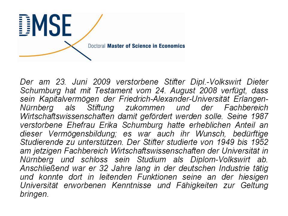 Der am 23. Juni 2009 verstorbene Stifter Dipl