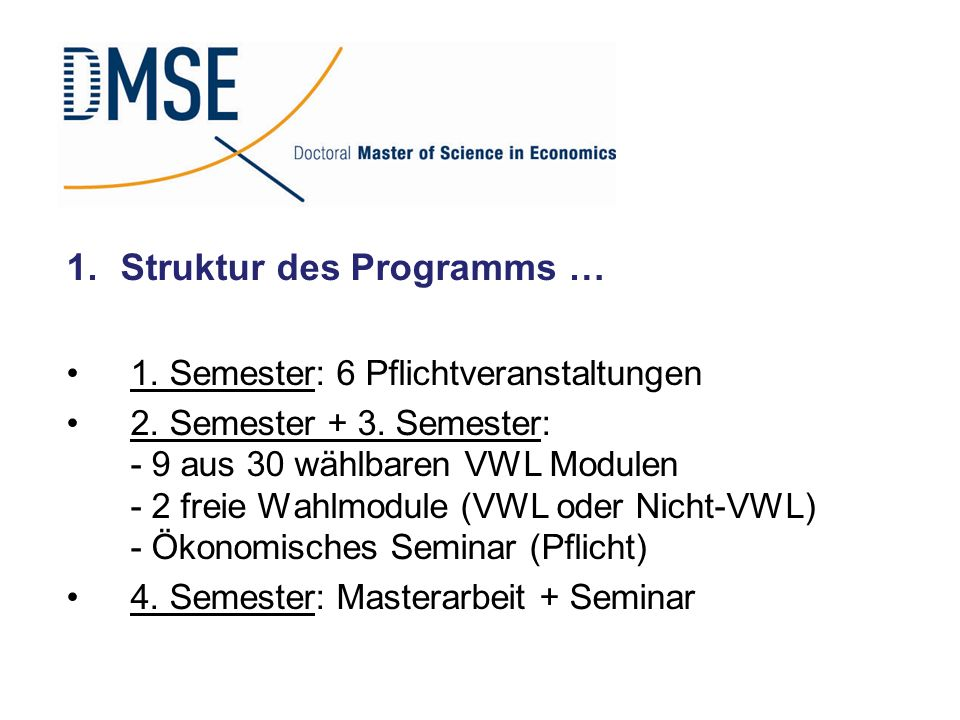 Struktur des Programms …