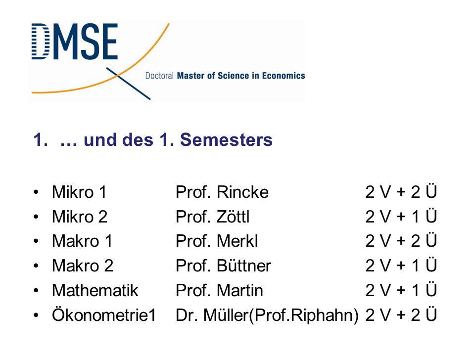 … und des 1. Semesters Mikro 1 Prof. Rincke 2 V + 2 Ü