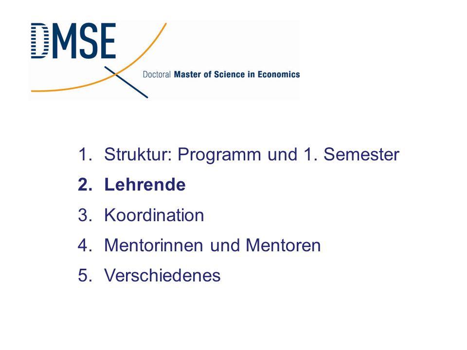 Struktur: Programm und 1. Semester
