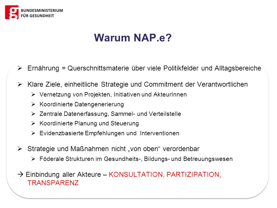 Warum NAP.e Ernährung = Querschnittsmaterie über viele Politikfelder und Alltagsbereiche.