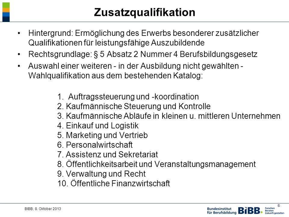Zusatzqualifikation Hintergrund: Ermöglichung des Erwerbs besonderer zusätzlicher Qualifikationen für leistungsfähige Auszubildende.