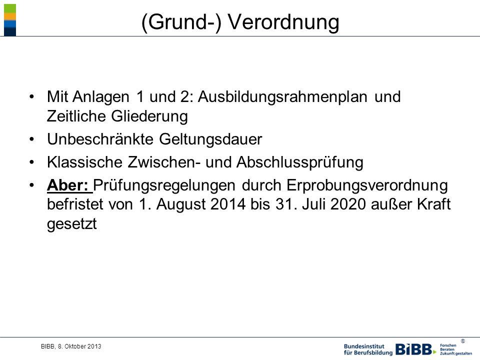 (Grund-) Verordnung Mit Anlagen 1 und 2: Ausbildungsrahmenplan und Zeitliche Gliederung. Unbeschränkte Geltungsdauer.