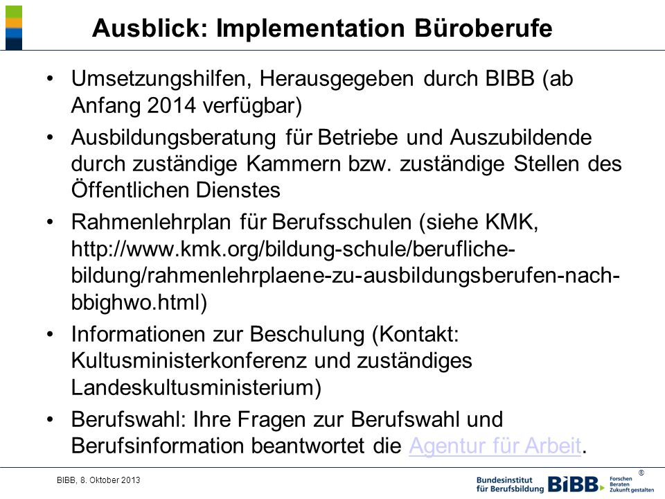 Ausblick: Implementation Büroberufe