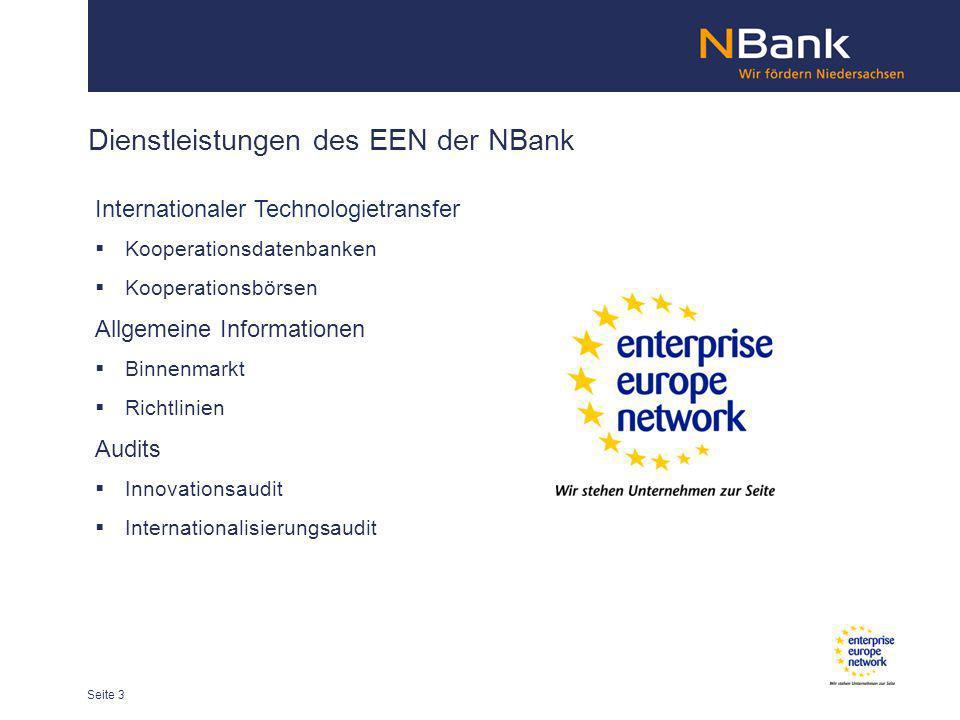 Dienstleistungen des EEN der NBank