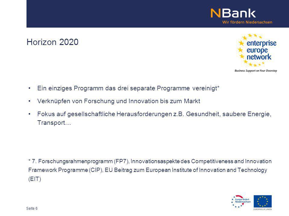 Horizon 2020Ein einziges Programm das drei separate Programme vereinigt* Verknüpfen von Forschung und Innovation bis zum Markt.