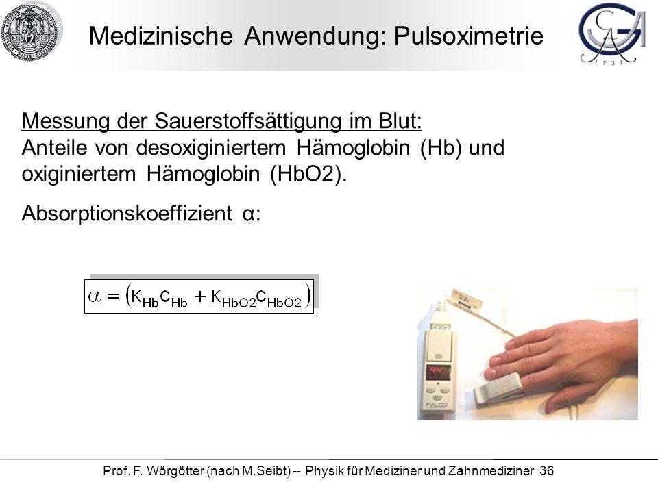 Medizinische Anwendung: Pulsoximetrie