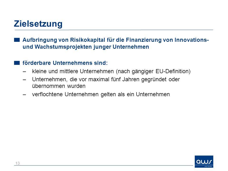 Zielsetzung Aufbringung von Risikokapital für die Finanzierung von Innovations- und Wachstumsprojekten junger Unternehmen.