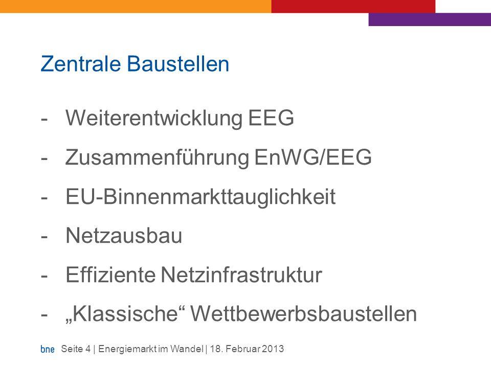 Zentrale Baustellen Weiterentwicklung EEG. Zusammenführung EnWG/EEG. EU-Binnenmarkttauglichkeit. Netzausbau.