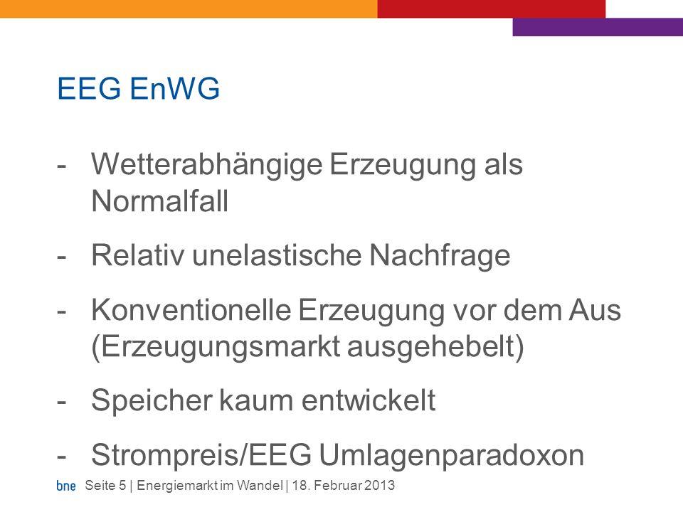 EEG EnWG Wetterabhängige Erzeugung als Normalfall. Relativ unelastische Nachfrage.