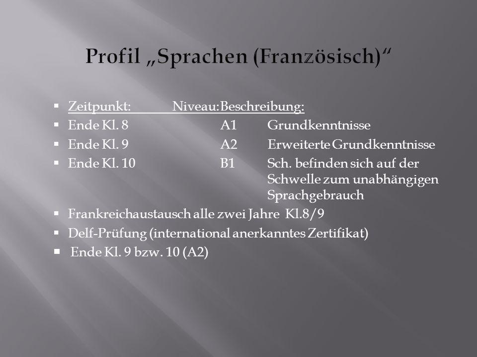 """Profil """"Sprachen (Französisch)"""