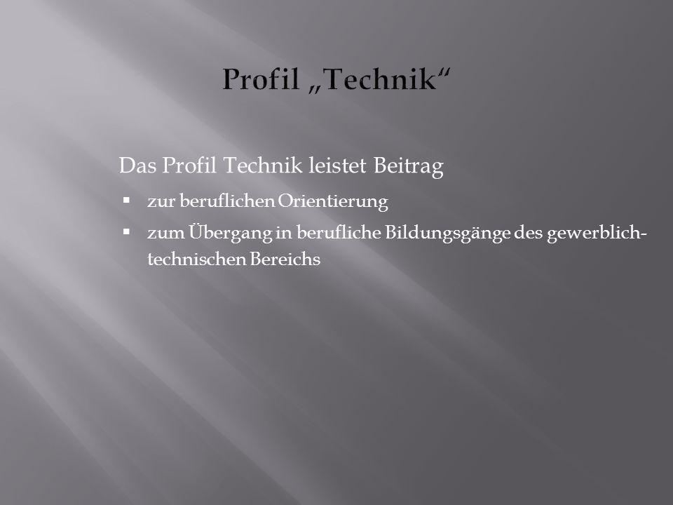 "Profil ""Technik Das Profil Technik leistet Beitrag"
