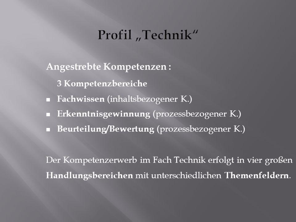 "Profil ""Technik Angestrebte Kompetenzen : 3 Kompetenzbereiche"