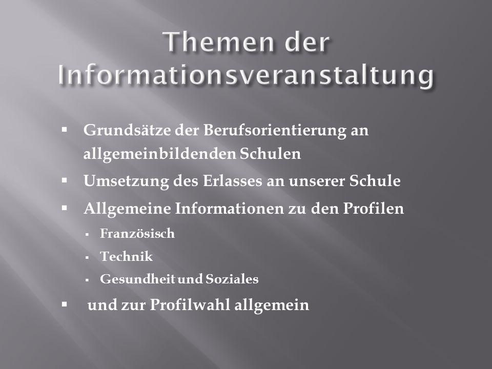 Themen der Informationsveranstaltung