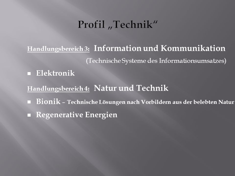 "Profil ""Technik Elektronik"