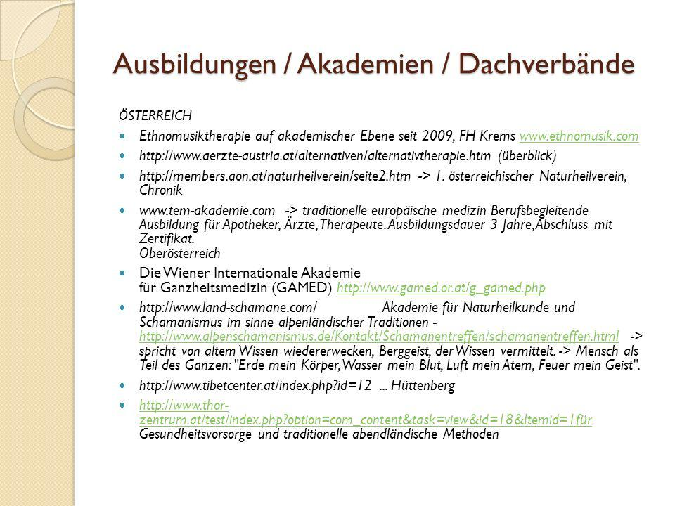 Ausbildungen / Akademien / Dachverbände