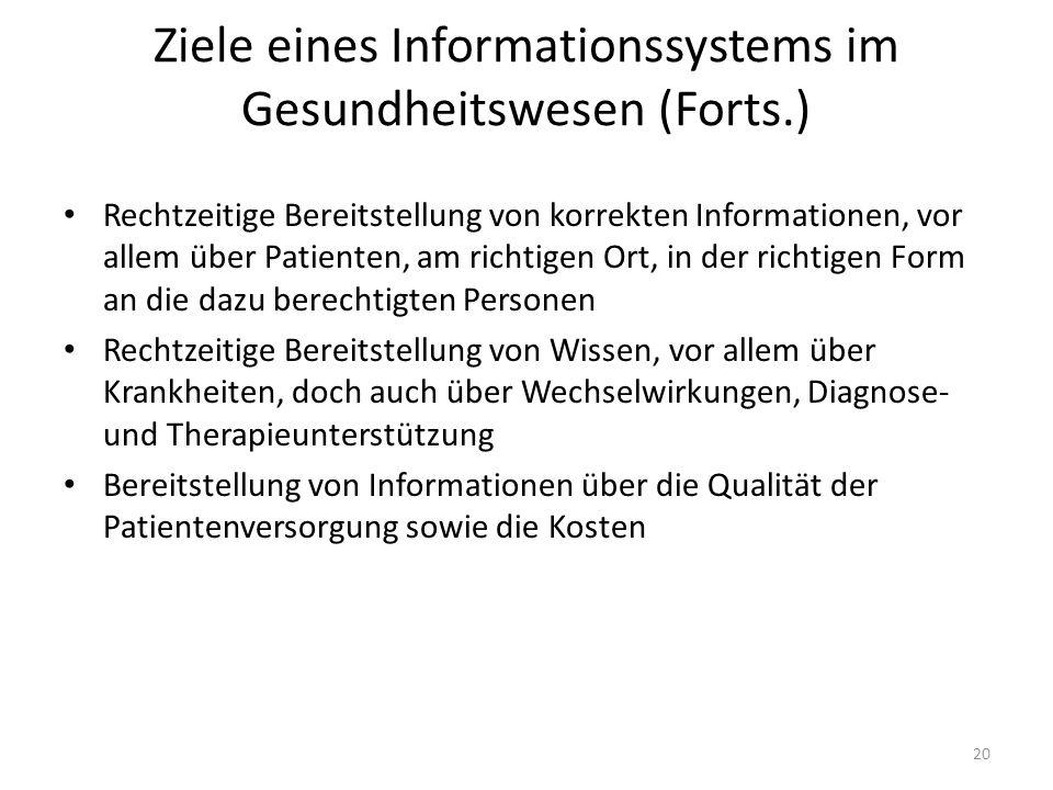Ziele eines Informationssystems im Gesundheitswesen (Forts.)