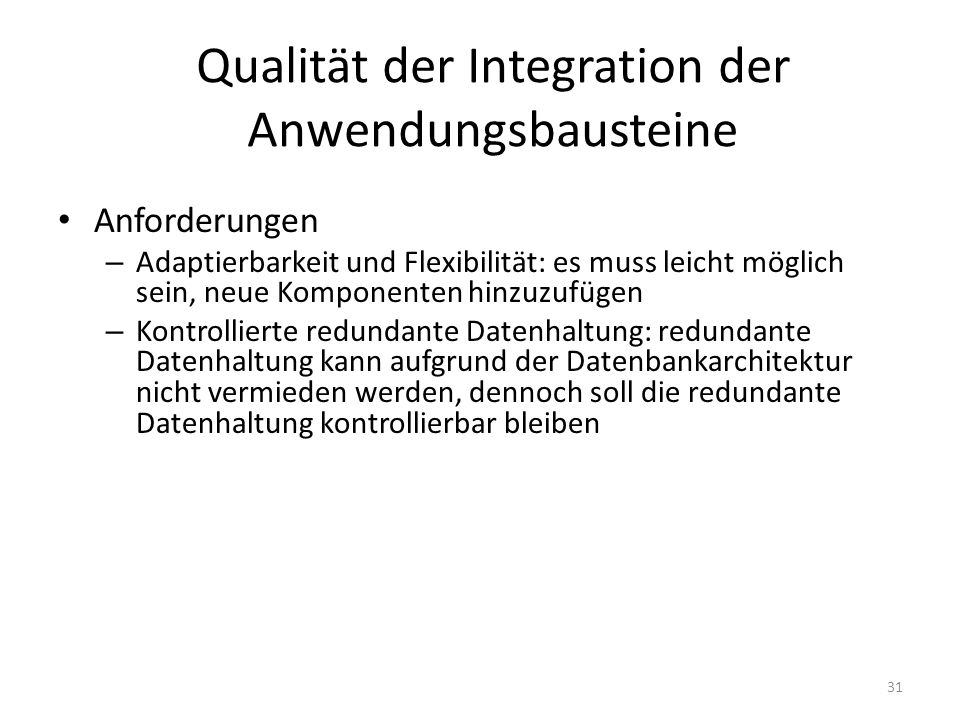 Qualität der Integration der Anwendungsbausteine