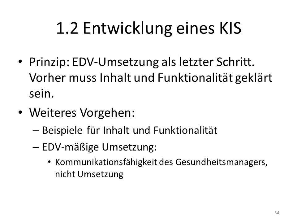 1.2 Entwicklung eines KIS Prinzip: EDV-Umsetzung als letzter Schritt. Vorher muss Inhalt und Funktionalität geklärt sein.