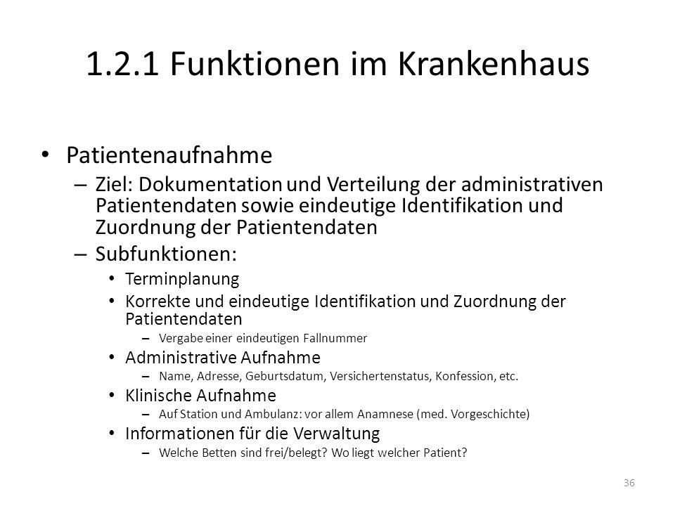 1.2.1 Funktionen im Krankenhaus