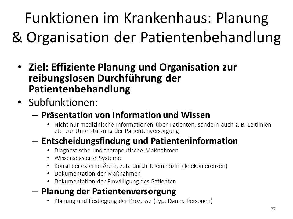 Funktionen im Krankenhaus: Planung & Organisation der Patientenbehandlung