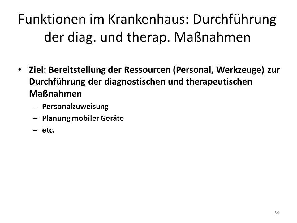 Funktionen im Krankenhaus: Durchführung der diag. und therap. Maßnahmen