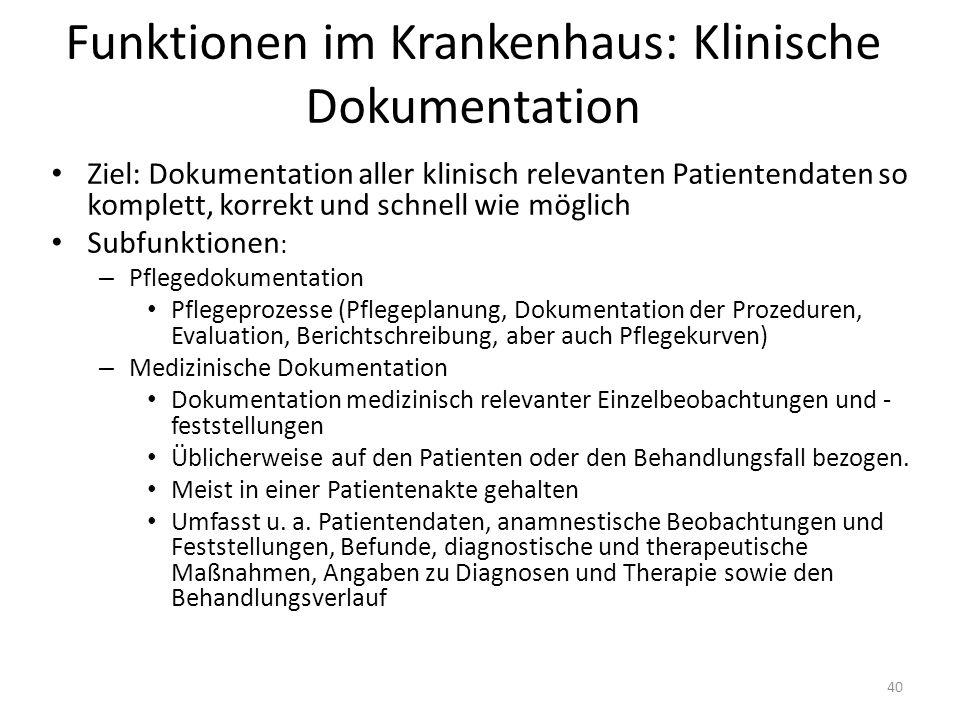 Funktionen im Krankenhaus: Klinische Dokumentation