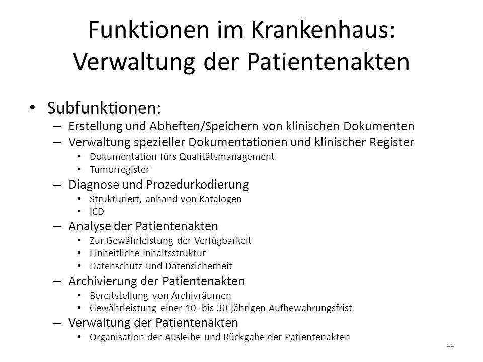 Funktionen im Krankenhaus: Verwaltung der Patientenakten