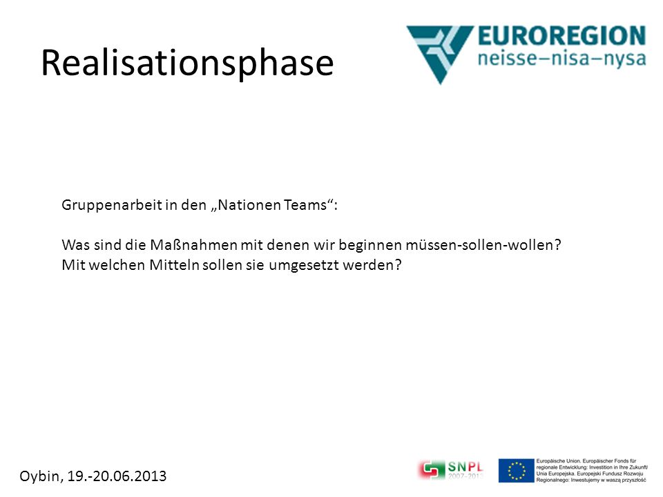 "Realisationsphase Gruppenarbeit in den ""Nationen Teams :"