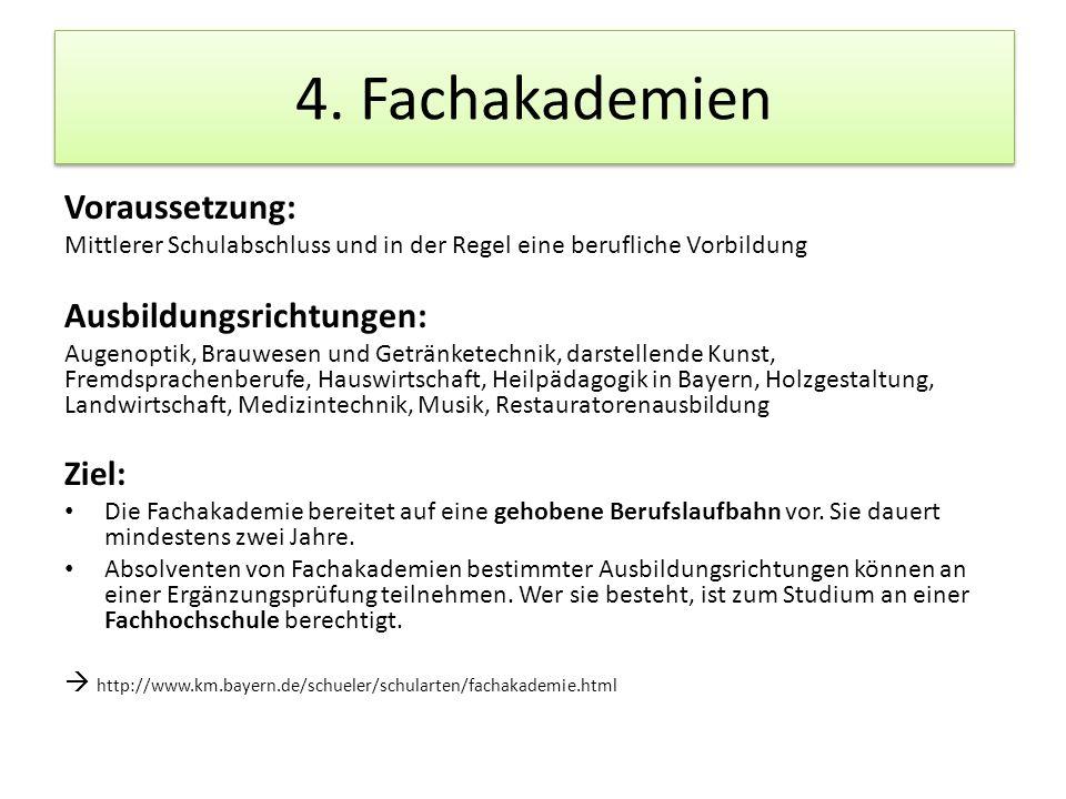 4. Fachakademien Voraussetzung: Ausbildungsrichtungen: Ziel: