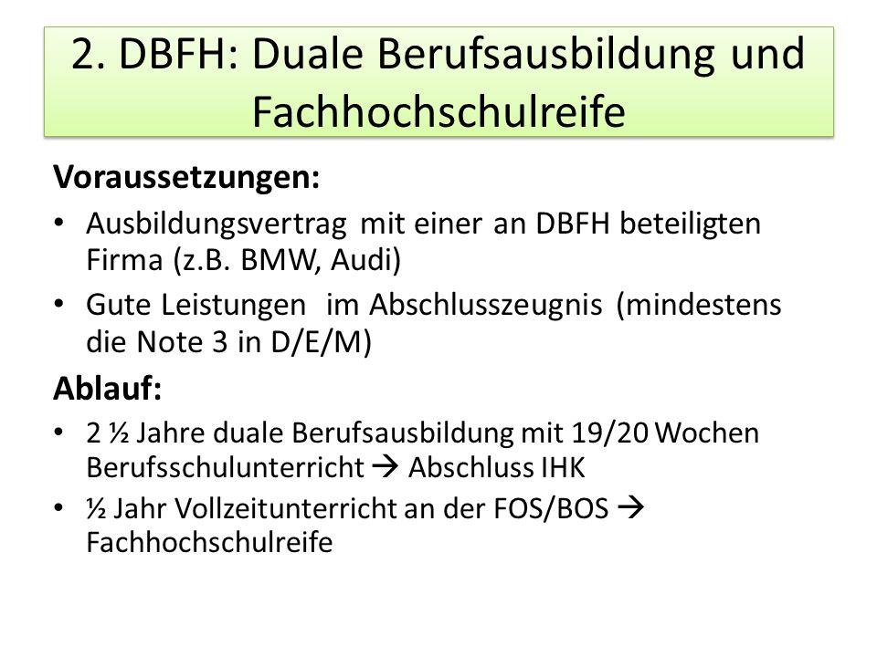2. DBFH: Duale Berufsausbildung und Fachhochschulreife