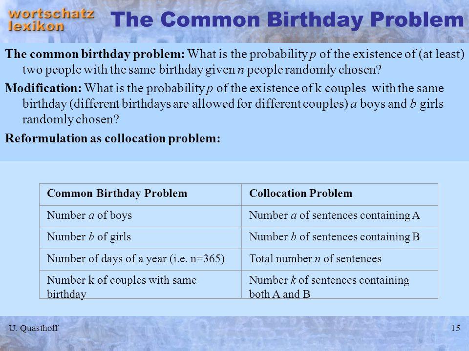 The Common Birthday Problem