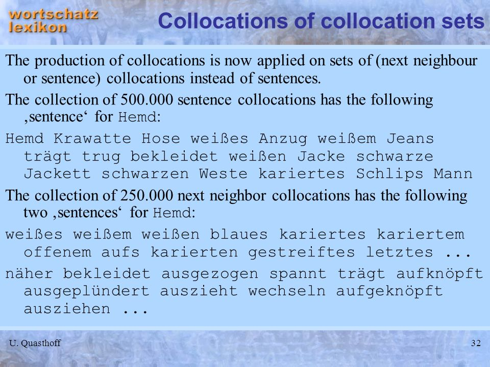 Collocations of collocation sets
